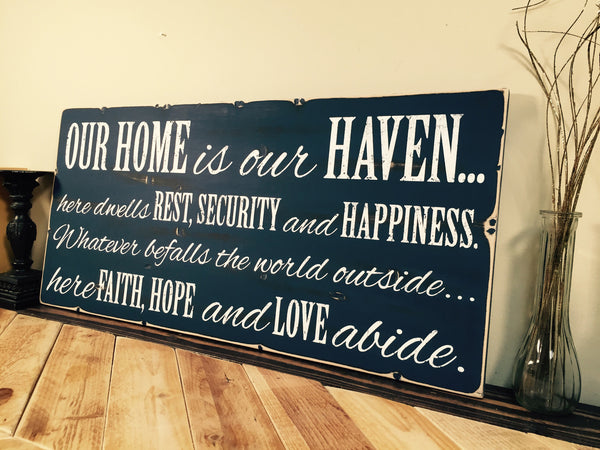 "Rustic Distressed Wood Sign with Your Own Quote Saying, 11"" Inch Plank, Up to 24"" Long"