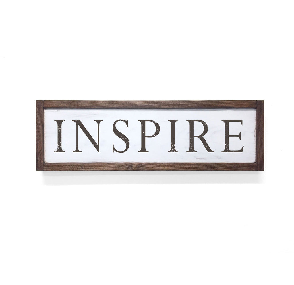 Inspire Floater Frame Wall Art Sign White Walnut, 24x7