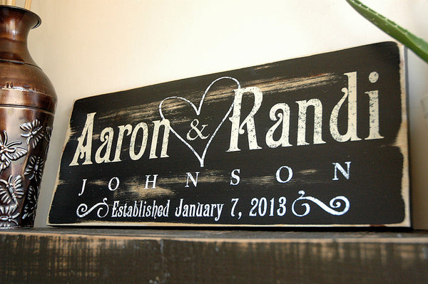Rustic Family Established Sign, Last Name Sign, Est. Sign, Rustic Wood Sign Finish
