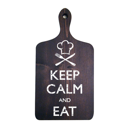 Keep Calm and Eat, Cutting Board Style, Kitchen Decor Sign, 9x16