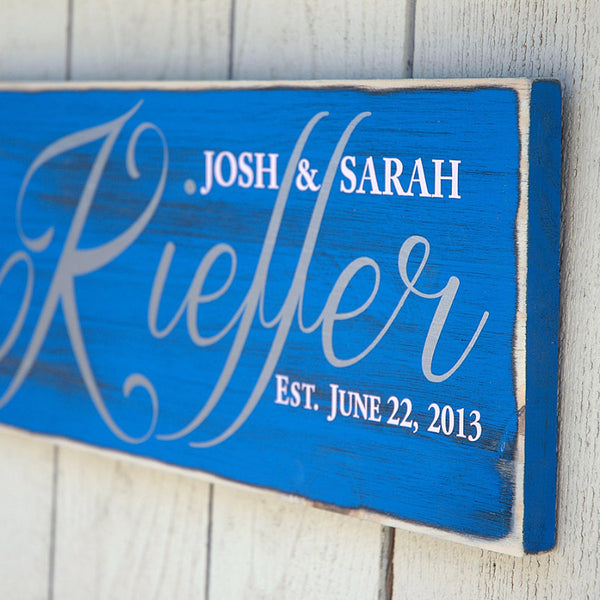 Family Established Sign, First Name Last Name Sign, Est. Sign, Rustic Wood Sign Finish