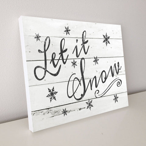 Let is Snow, Christmas Décor, Shiplap Canvas Art, 20x16
