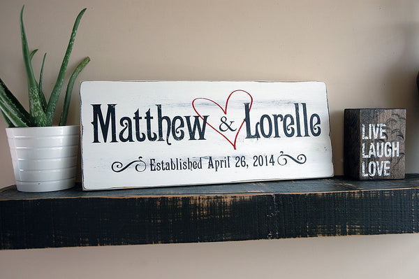 Family Established Sign with Heart, First Name Last Name Sign, Est. Sign, Rustic Wood Sign Finish