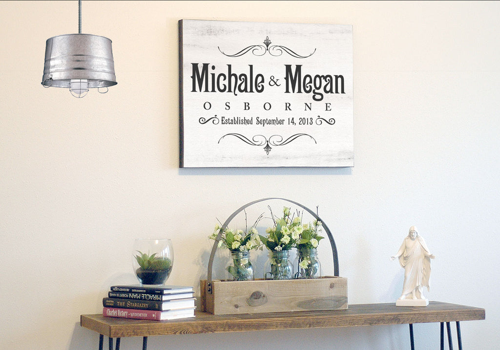 Custom Made Canvas Wall Art - Personalized Last Name Established ...