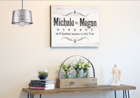 Custom Made Canvas Wall Art - Personalized Last Name Established Frame