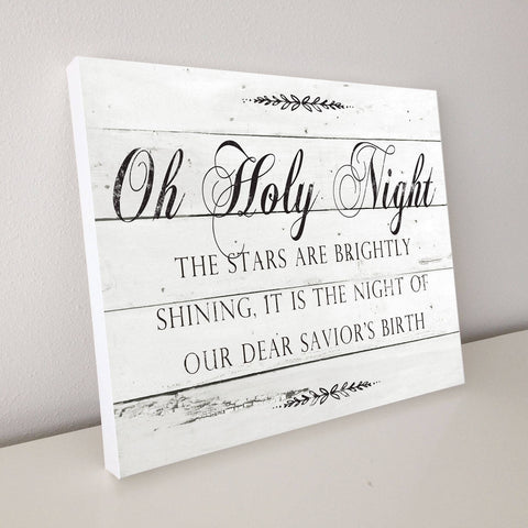 Oh Holy NIght, Christmas Décor, Shiplap Canvas Art, 20x16
