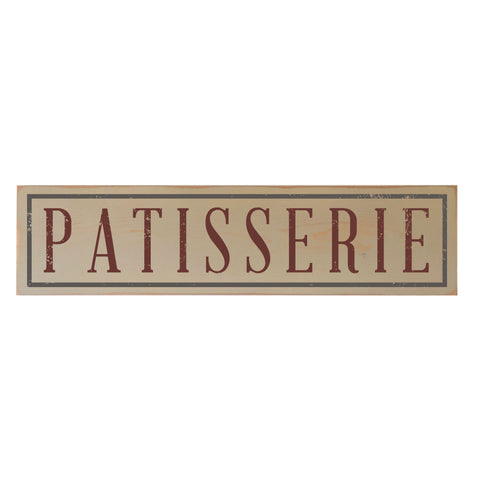 Kitchen Decor Sign: Vintage Patisserie Wood Sign, Beige 29x7
