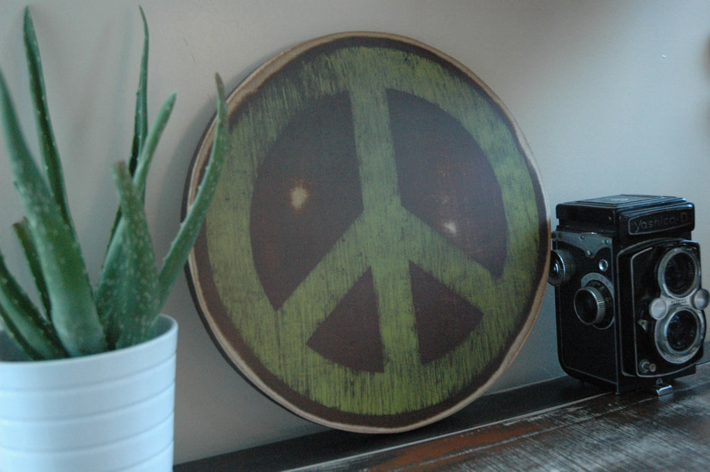 Peace Sign Wall Art Painted on Rustic Wood Circle Home Decor Sign