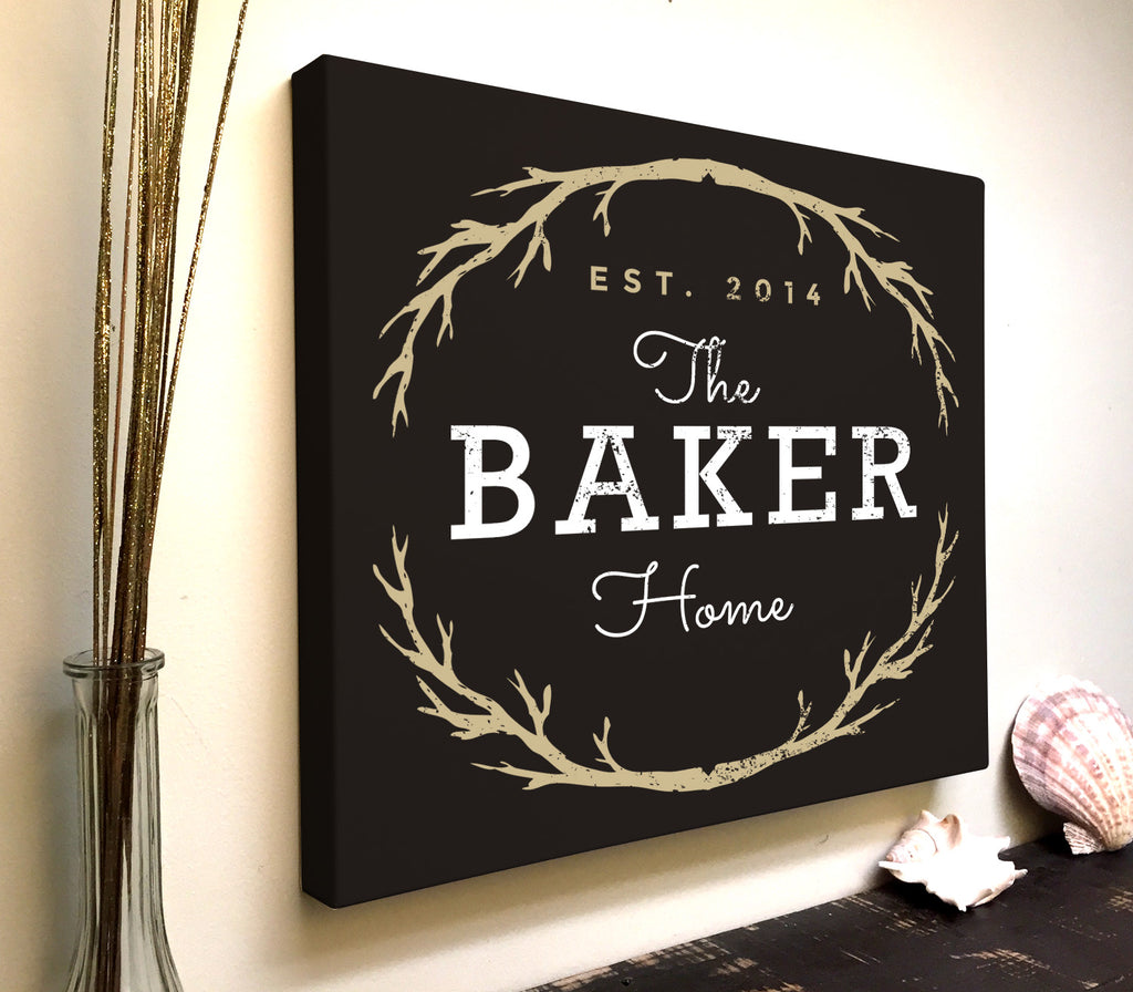 Personalized Last Name Established Home Canvas Art