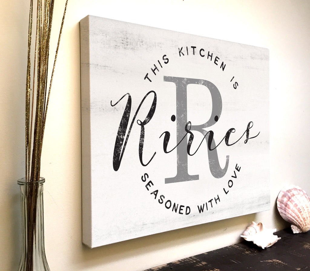 Personalized Kitchen Canvas, This Kitchen is Seasoned with Love