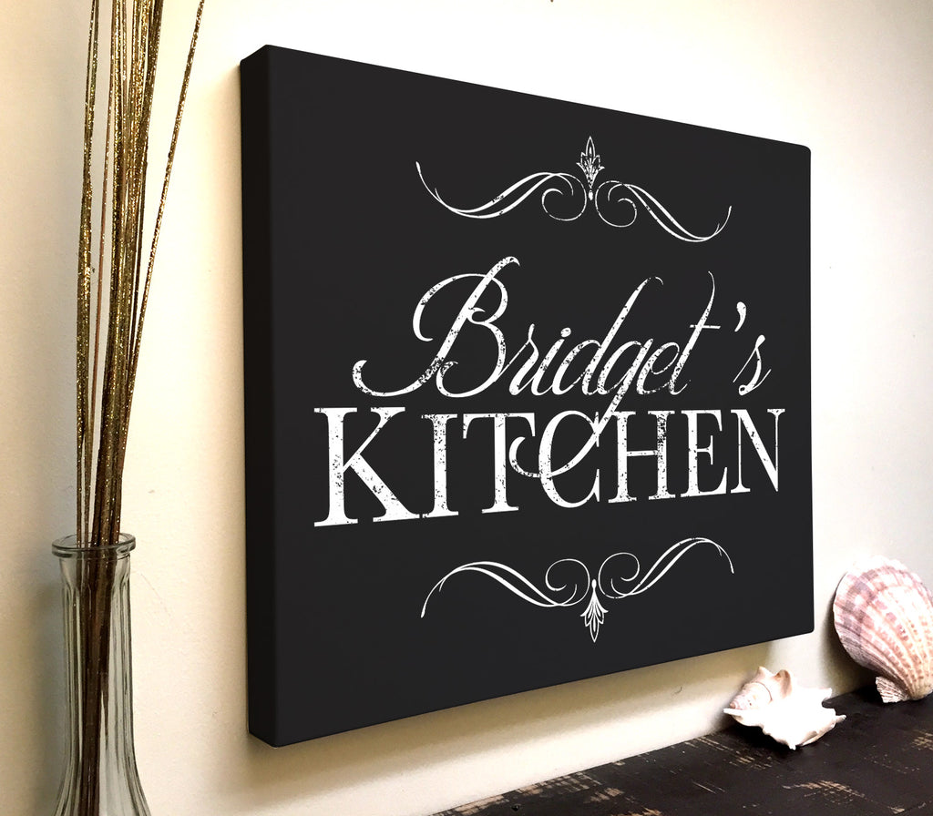 Personalized Kitchen Canvas Art With Your Name Kitchen