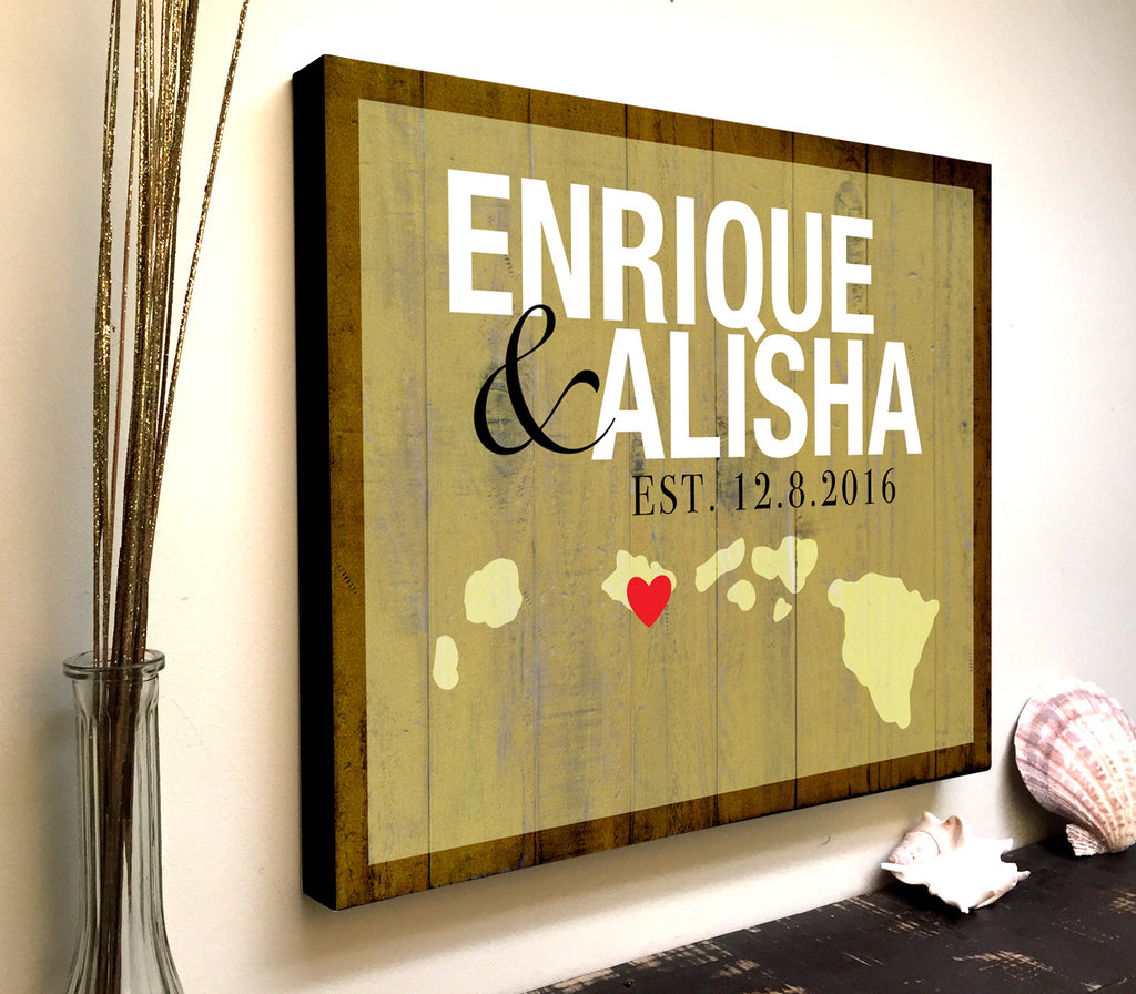 Personalized Canvas Art with Custom State Names and Est. Date
