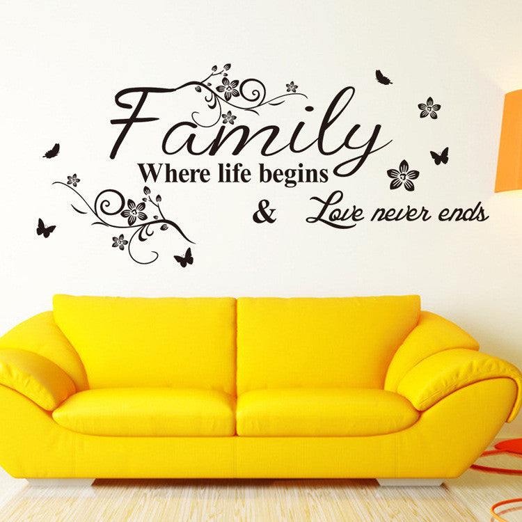 "Decorative Wall Decal: Family Where Life Begins, Black, 22"" x 11"""