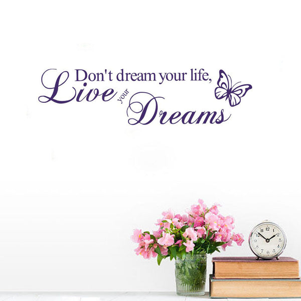 Inspirational Wall Decal: Live Your Dream w/ Butterfly Art