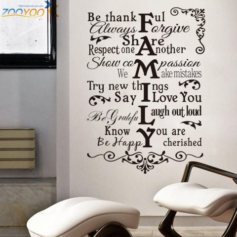 House Rules Wall Decal, Family Home Decor Sticker