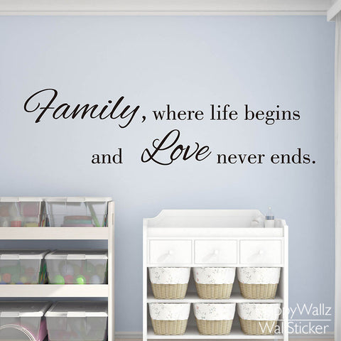Home Wall Decal: Family Where Life Begins and Love Quote