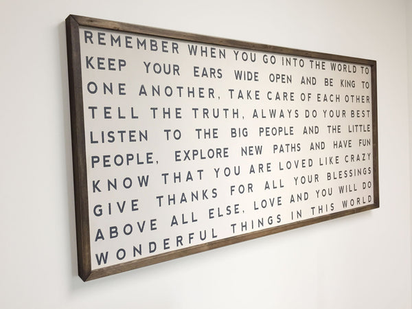 Remember When You Go Into The World, Framed Letter to Children, 48x24