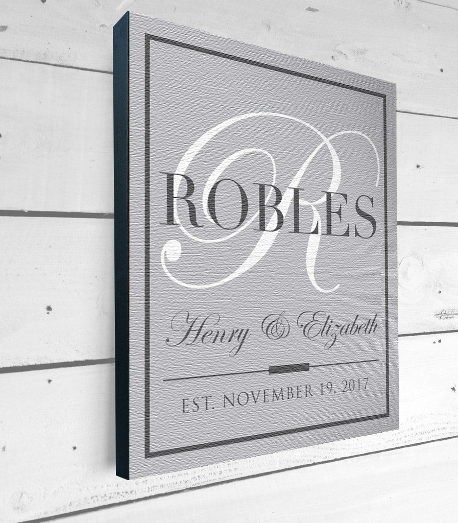 Personalized Family Name Canvas Art on 1.5 Stretcher Frame – Rustica ...