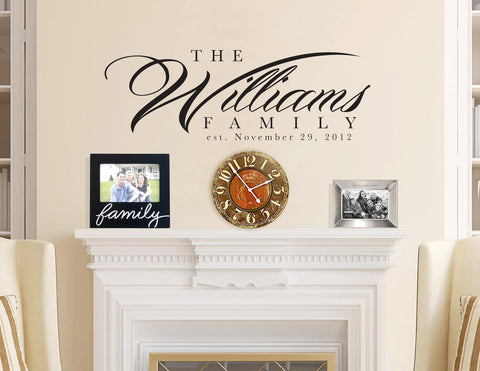Custom Wall Decal with Family Last Name & Est. Date