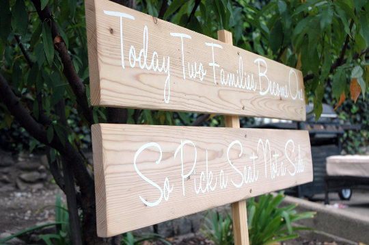 Wedding Signs: Directional Wedding Signs with Stake, Ranch Wedding, Today Two Families Become One