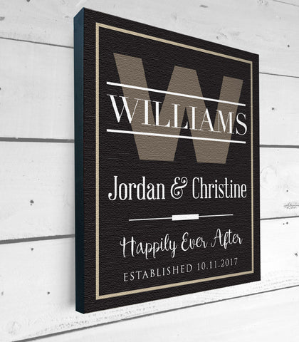 Personalized Family Name Canvas Art, Happily Ever After