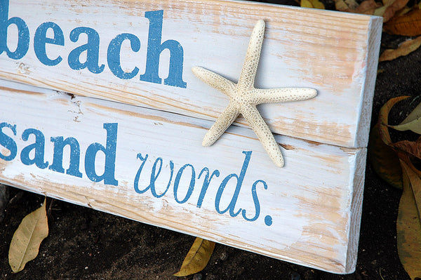 wood pallet beach sign