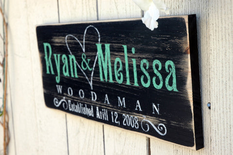 Custom Established Sign, Family Established Plaque, Rustic Wood Finsih