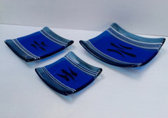 SET OF 3 SMALL BLUE SQUARE BOWLS