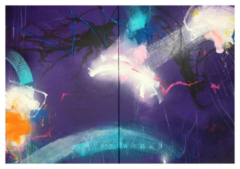 Open your World IV (diptych) by Bea Garding Schubert (Not incl shipping)
