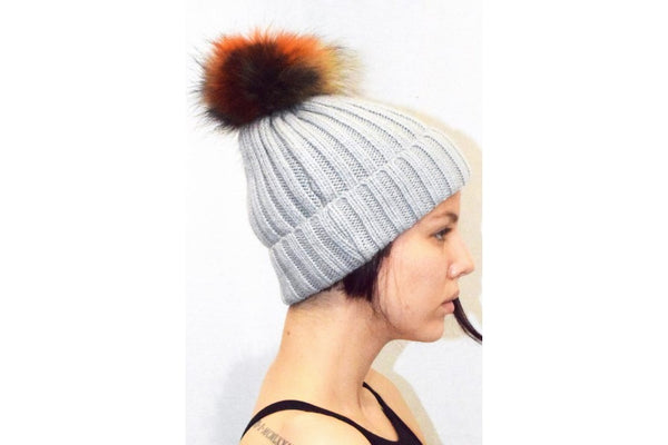 HAT JY-2 real racoon fur detachable pom pom (coloured)