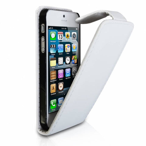 iPhone 5 Flip Leather Case - White | Free Shipping