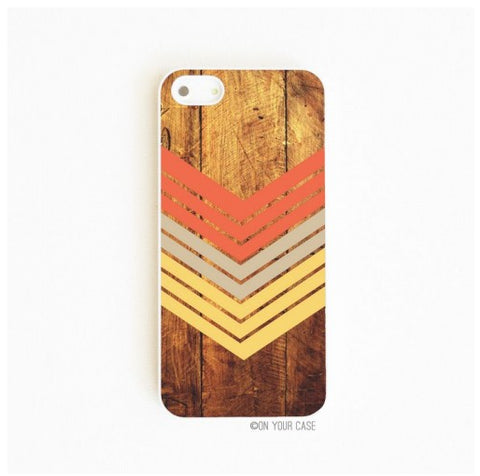 On Your Case iPhone 5/5S Case Dark Wood Geometric Nectarine | Free Shipping