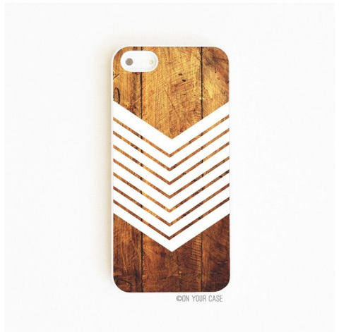 On Your Case iPhone 5/5S Case Dark Wood Grain Geometric White | Free Shipping