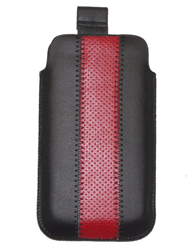 universal leather pouch black red