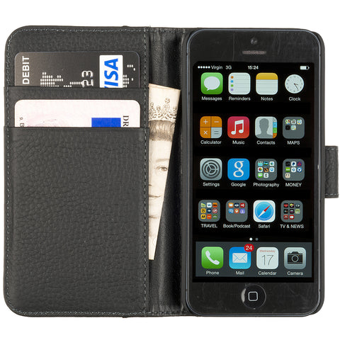 iPhone 5 Flip Leather Case - Black