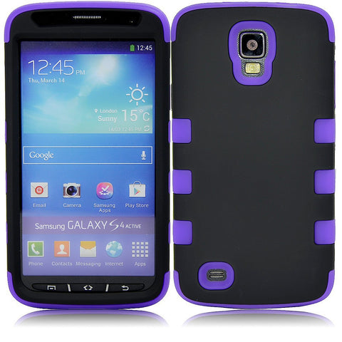 Samsung S4 Dual layer case - Black/purple | Free Shipping