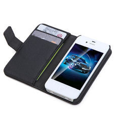 iPhone 4S Flip Wallet Leather Cases - Black | Free Shipping