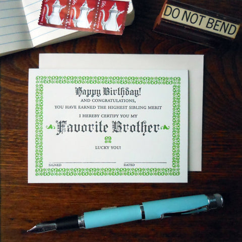 favorite brother certificate