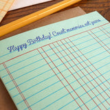 birthday ledger paper