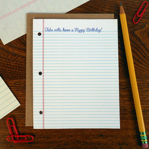 birthday notebook paper
