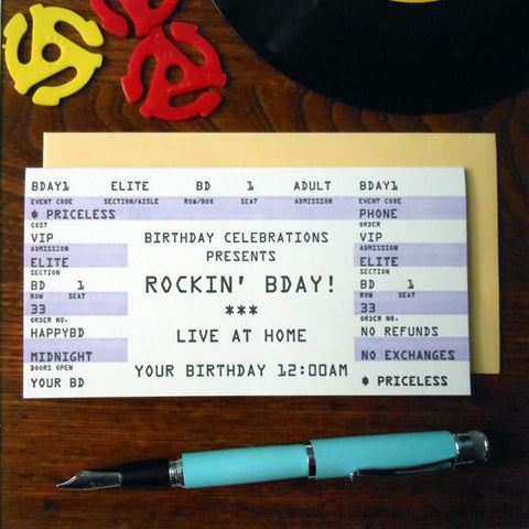 birthday rock ticket