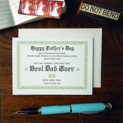 best dad ever certificate