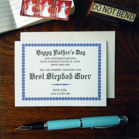 best stepdad ever certificate