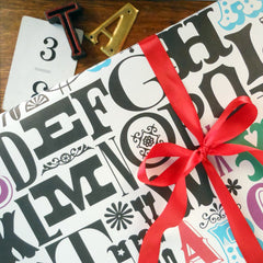 alphabet gift wrap sheets