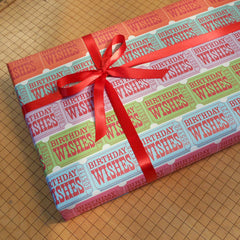 birthday ticket gift wrap sheets