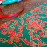 red green & gold demask print vintage gift wrap