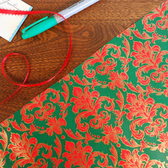 red green & gold damask print vintage gift wrap