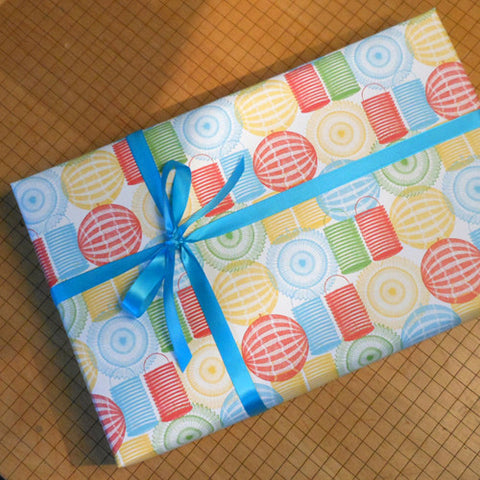 chinese lanterns gift wrap sheets
