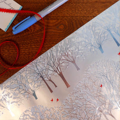 metallic silver winter trees with snow & red bird gift wrap roll
