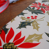 classic poinsettias & holly vintage gift wrap